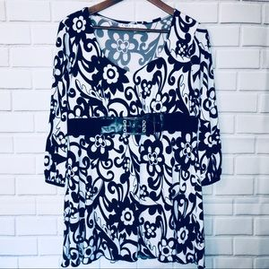 Cato Size L Black & White Belted Tunic